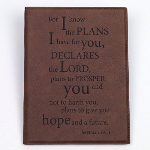 Engraved Portfolio And Note Pad, Engraved With Motivating & Encouraging Scripture - Jeremiah 29:11 (7Wx9L inches)