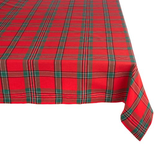 """DII Holiday Plaid Square Tablecloth, 100% Cotton with 1/2"""" Hem for Holiday, Family Gatherings, & Christmas Dinner (60x84"""" - Seats 6 to 8)"""