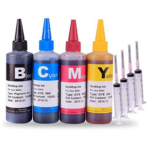 (INKOA (TM) T220 T220XL Ink Refill Kit 4 Bottles Refill Ink (100ml Black, 100ml per color, total 400ml) )