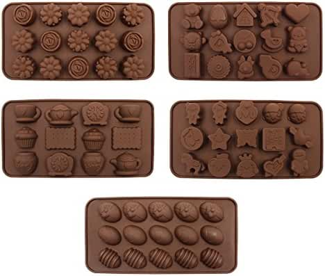 Chocolate Molds Candy Making Molds Hippih 5 Pack Silicone Baking Mold with Diverse Shapes