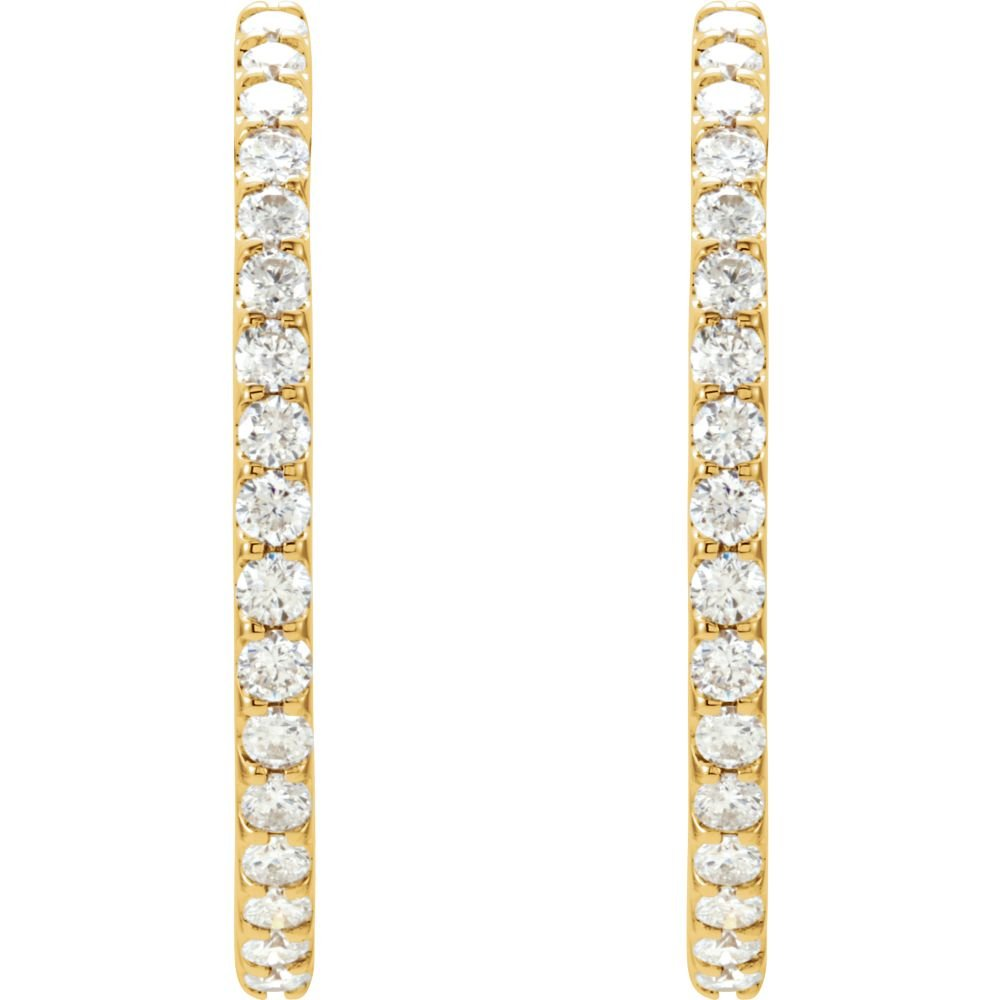 14K Yellow 3 CTW Diamond Hinged Inside-Outside Hoop Earrings