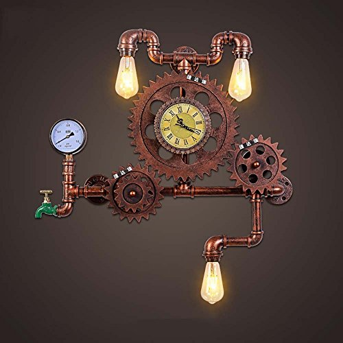HOMEE Wall lamp- american style retro industrial wind loft water pipe gear decorative ironwork wall lamp creative personality coffee restaurant studio wall lamp --wall lighting decorations by HOMEE