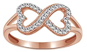 White Natural Diamond Heart Infinity Ring In 14k Solid Rose Gold (0.17 Ct)