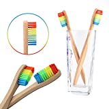 Kashyk Eco-Friendly Bamboo Toothbrush | Rainbow Head | Bamboo Fiber+Nylon | Biodegradable | Solid Bamboo Handle | Medium Bristles | Vegan | Natural Product | Adult | Childrens | Daily Use (Rainbow)