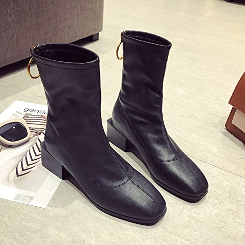 Leather Black Thick Tide Wind Warm Boots All Winter Boots With Contracted Square Boots Cotton College Retro Female In Match KPHY With qn4pTH