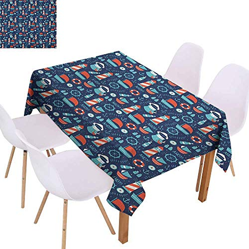 Easy Care Tablecloth Anchor Nautical Arrangement with Ship Captain Boats Helm and Compass Picnic W60 xL84 Dark Blue Vermilion Pale Blue Great for Buffet Table