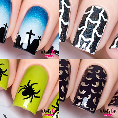 Halloween Nail Vinyl Stencils 4 pack (Graveyard, Spider, Spooky Eyes, Le Chat Noir) for Nail Art Design ()