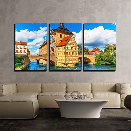 (wall26 - 3 Piece Canvas Wall Art - Scenic Summer View of The Old Town Architecture - Modern Home Decor Stretched and Framed Ready to Hang - 24
