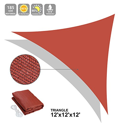 Ollieroo Shade Sail UV Block Fabric Patio Outdoor Canopy Sun Shelter with 5ft PE Ropes and Steel D-rings 12x12x12ft Triangle Red