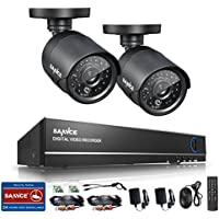Sannce 8-Channel Full 960H Realtime CCTV DVR Video Surveillance Recorder with (2) 800TVL Night Vision Weatherproof Indoor/Outdoor Bullet Cameras - P2P Cloud Remote Viewing, Motion Detection--NO HDD
