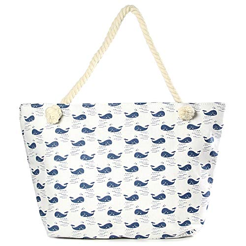 by you Whale Print Large Beach Tote Shopping Bag Zipper Closure Strong Handles with Inner Pocket (Mini Whales Print) ()