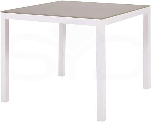 Mesa Cuadrada de Comedor. Aluminio de Exterior Primera Calidad Blanco. Cristal Templado Taupé. 90x90x74cm: Amazon.es: Jardín