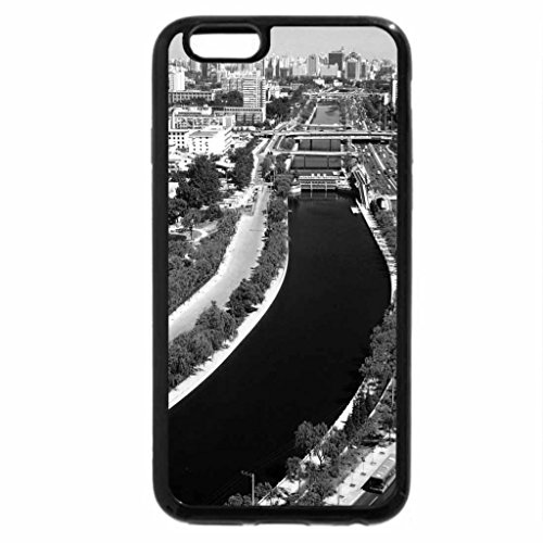 iPhone 6S Case, iPhone 6 Case (Black & White) - Cityscape Roads and Rivers