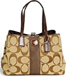 COACH SIGNATURE C KHAKI MAHOGANY CARRYALL/ SATCHEL 13533, Bags Central