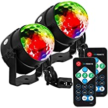 LUNSY LED Sound Activated dj Lights with Remote Control,Party Lights,Strobe Lights,dj Stage Light, 7 Lighting Color Disco Party Lights,Stage Light,Disco Ball Par Light for Wedding Show Band 2 Pack