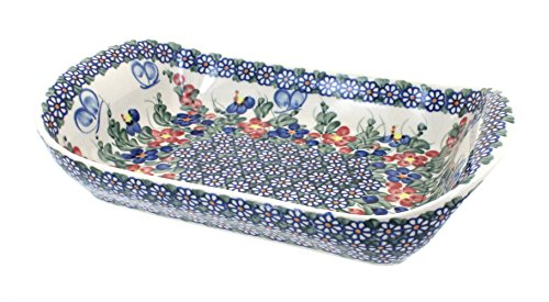 Blue Rose Polish Pottery Garden Butterfly Extra Large Rectangular Serving Tray with Handles
