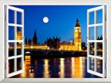 "Wall26 Removable Wall Sticker / Wall Mural - Full Moon above Big Ben and House of Parliament, London, United Kingdom | Creative Window View Home Decor / Wall Decor - 36""x48"""