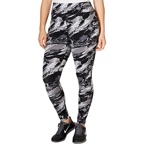 Ideology Womens Plus Marble Print Stretch Leggings Gray 1X