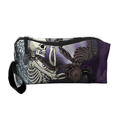 WEEDKEYCAT Skull Angel Vs Devil Wings Yin Yang Travel Cosmetic Bag Pen Pencil Portable Toiletry Brush Storage,Multi-function Accessories Sewing Kit Bags Pouch Makeup Carry Case With Zipper