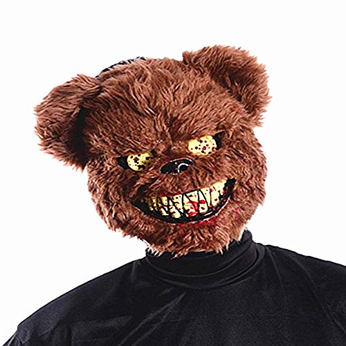 ZOUQILAI Halloween Latex Hood Mask Teddy Bear Horror Mask Ball Show Props Half Face Mask Scary Fancy Dress Costume Accessory ()