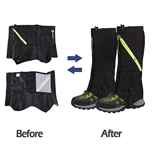 IC ICLOVER Outdoor Leg Gaiters, Breathable Waterproof High Leg Legging Cover Snow Gators Keep Water, Mud, Snow & Debris Out, Protect Against Sharp Rocks, Bush, Inserts For Hiking Climbing Hunting