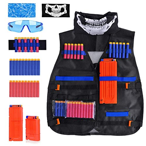 Kids Tactical Vest Kit Compatible with Nerf Guns N-Strike Elite Series, with 20 Pcs Refill Darts, 2 Reload Clips, 2 Face Tube Mask, 1 Hand Wrist Band and Protective Glasses
