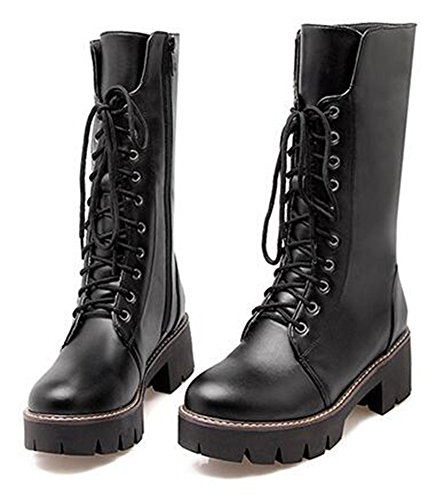 Chfso Womens Trendy Solid Lace Up Mid Chunky Tacco Platfrom Mid Cuff Boots Nero