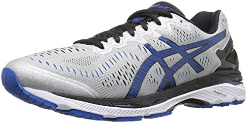 ASICS Men's Gel-Kayano 23 Running Shoe, Silver/Imperial/Black, 9 M US