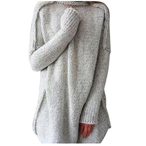Franterd Women's Fall Winter Oversized Knitted Crewneck Casual