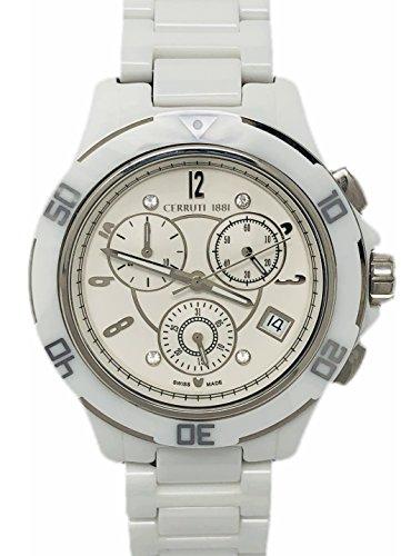 Cerruti 1881 Ladies Chronograph Watch White Silver Tone with Ceramic Strap Diamond CRWM033Z211R