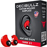 Decibullz Custom Molded Earplugs 31dB Highest NRR. Comfortable Hearing Protection for Shooting, Travel, Sleeping, Swimming, Work and Concerts (Red)