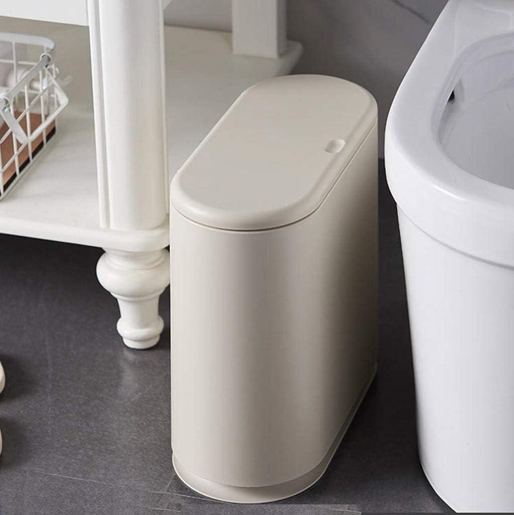 QYHT 9 L M/ülleimer mit 2 F/ächern Ovaler Recycling-M/ülleimer for die K/üche im Bad schlanker M/ülleimer mit Druckdeckel Doppelm/ülleimer aus Kunststoff mit Inneneimer White