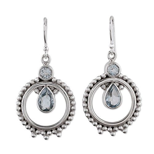 NOVICA Blue Topaz .925 Sterling Silver Dangle Earrings, Regal Circles'