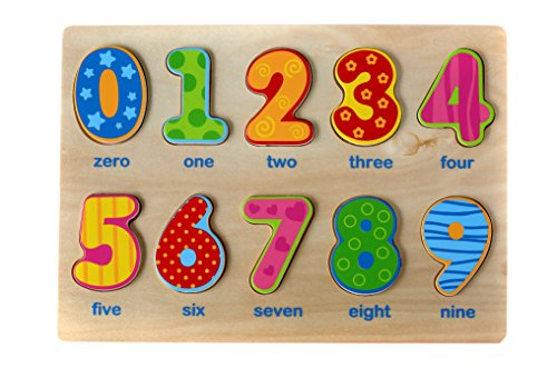 Classic Numbers Wooden Puzzle for Toddlers, Preschool Age w/