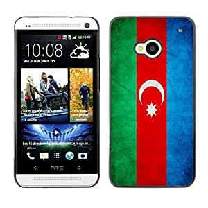 YOYO Slim PC / Aluminium Case Cover Armor Shell Portection //Azerbaijan Grunge Flag //HTC One M7