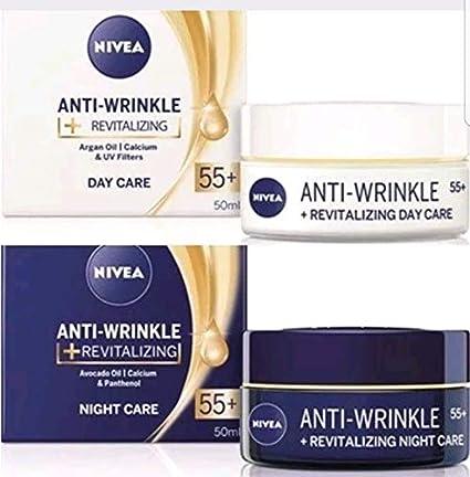 NIVEA - Pack de 2 antiarrugas + crema revitalizante para el día y la noche: Amazon.es: Belleza