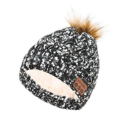 Bluetooth Beanie Hat Earbud Wireless Headphone Headset Earphone Speakerphone Wireless Hands-Free Hat Sport Knit Cap, Built-in Mic Warm Soft Winter Knitted Short Cap Mic Outdoor BB023_BLACK
