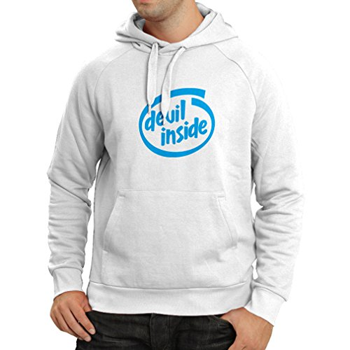 - Hoodie Devil Inside - Geek Gamer Gift, Funny Slogan, Gaming Stuff (XX-Large White Blue)