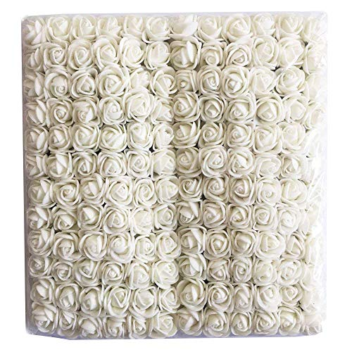Artfen Mini Fake Rose Flower Heads 144pcs Mini Artificial Roses DIY Wedding Flowers Accessories Make Bridal Hair Clips Headbands Dress White