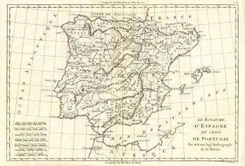 Le Royaume dEspagne et celui de Portugal. España. Iberia. Bonne 1789 - Mapa Antiguo Antiguo Vintage - Mapas Impresos de Iberia: Amazon.es: Hogar