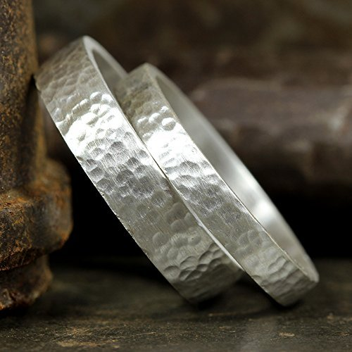Matching Wedding Bands Set 925 Sterling Silver Hammered Texture Flat Pipe Cut His and Hers Thick Hand Forged Wedding Rings - FREE Custom Engraving ()