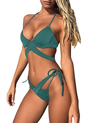 Cup Bikini (Huiyuzhi Women Sexy Halter Criss Cross Push Up Padded Strappy Bandage Bikini Set Two Piece Cut Out Swimsuit)