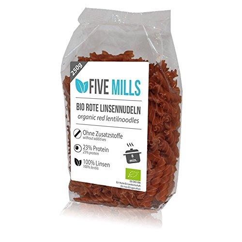 BIO Linsennudeln aus 100% Linsenmehl 250g mit 23% Protein vegan und glutenfrei von Five-Mills.de für Muskelwachstum und Muskelerhalt - Eiweißnudeln geeignet als Fleischersatz und Supplementersatz low fat