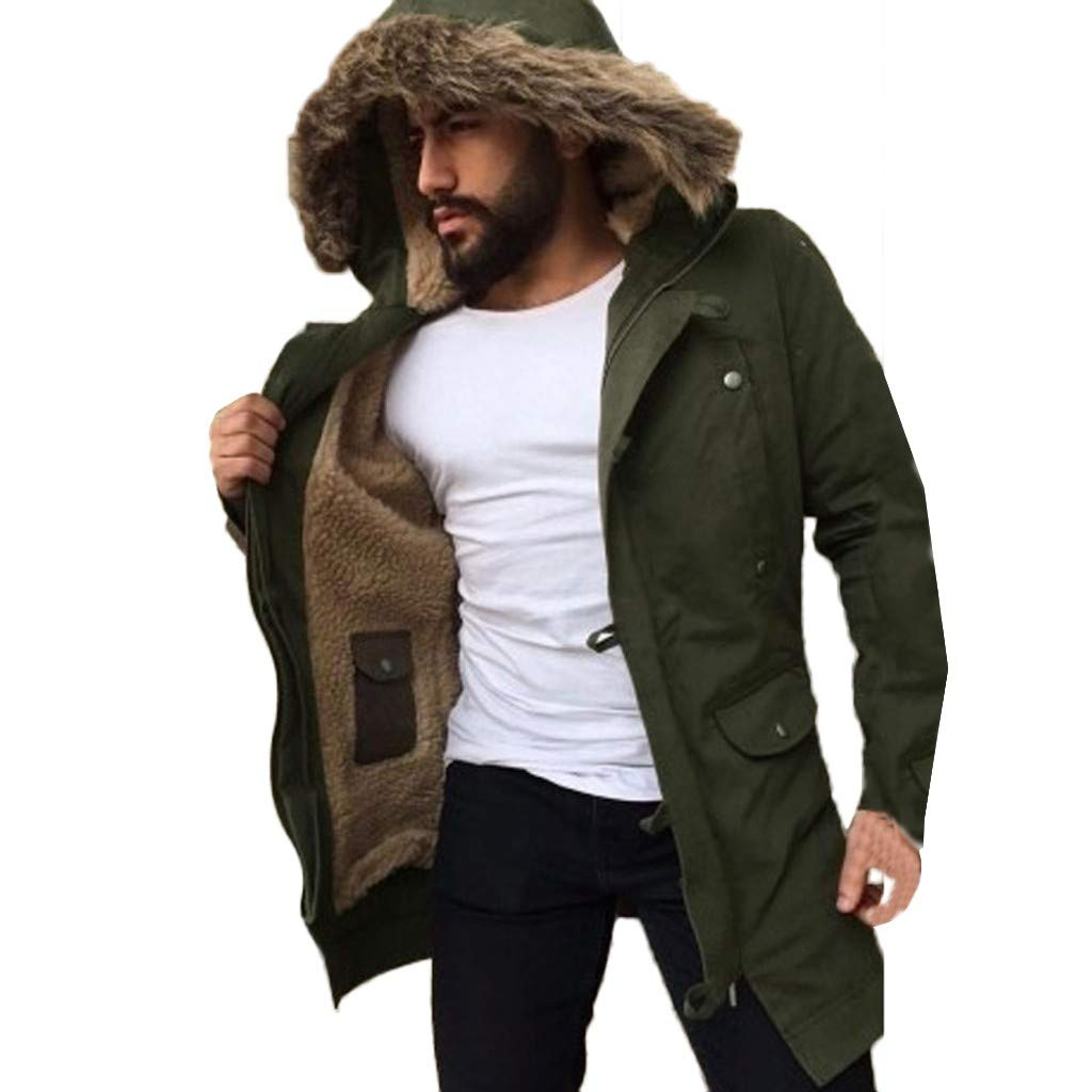 Men's Winter Hooded Frost-Fighter Sherpa Lined Midi Packable Parka Jackets Overcoat Outwear Wind Breaker Casual Coat Army Green by Close-dole