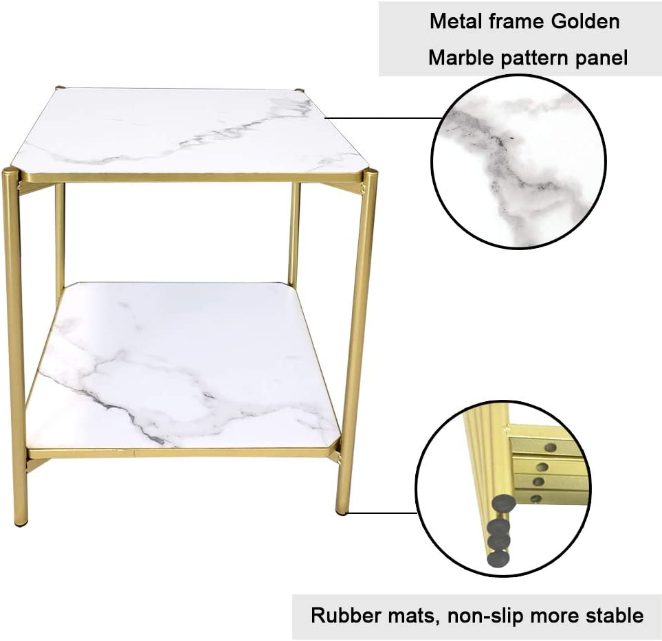 JIFULI Modern Coffee Side Table Home Office Leisure Small Square Table White