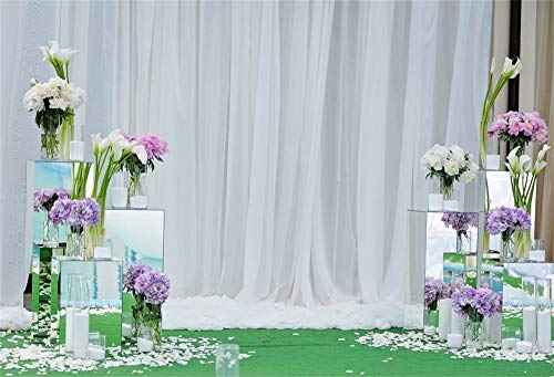 (AOFOTO 10x7ft Flowers Vase White Curatin Background for Wedding Photography Graceful Gauze Lovers Couples Anniversary Family Portrait Photo Backdrop Vinyl Valentine's Day Photo Studio Props Wallpaper)