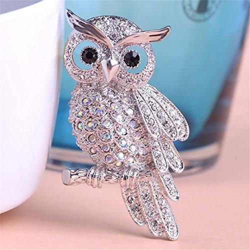Large Bird Owls Vintage Brooches Antiques Bouquet Owl Hijab Pin Up Designer Wedded Broach Scarf CJewelry Fleur De Lis Rhodium crystal