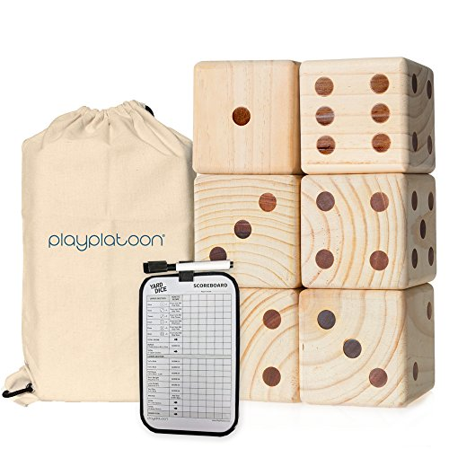 Play Platoon Lawn Dice with Scoreboard - Giant Wooden Yard Dice Game for Playing Endless Outdoor Games
