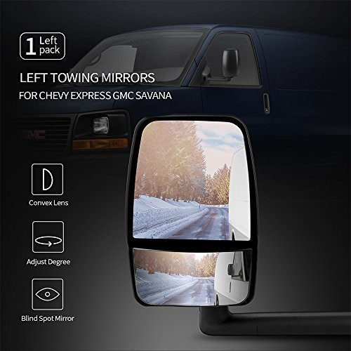 Left Towing Mirror Fits 2003-2017 Chevy Express GMC Savana | Side View Tow Mirror Textured Black 1PC by IKON MOTORSPORTS | 2004 2005 2006 2007 2008 2009 2010 2011 2012 2013 2014 2015 2016