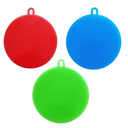 MXXGMYJ 3pcs Multi Color Dish Cloths Kitchen Washcloths Silicone Scrubber Sponges Brush Dish Scrubber Cleaning Cloths